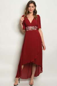 S15-12-2-D1361 BURGUNDY W/ FLOWERS EMBROIDERY DRESS 2-2-2