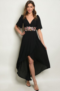 S9-20-4-D1361 BLACK W/ FLOWERS EMBROIDERY DRESS 2-2-2