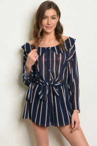 S8-13-2-R1436 NAVY STRIPES ROMPER 2-2-2