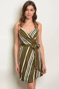 S2-7-4-D32563 OLIVE STRIPES DRESS 3-2-1