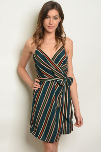 S3-6-3-D32859 GREEN STRIPES DRESS 3-2-1