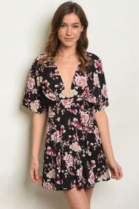 S3-7-2-D32543 BLACK W/ FLOWERS PRINT DRESS 3-2-1