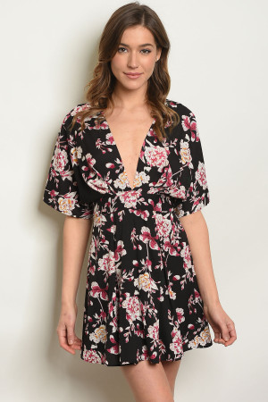 e0346c95868 Quick View this Product S3-7-2-D32543 BLACK W  FLOWERS PRINT DRESS 3-2