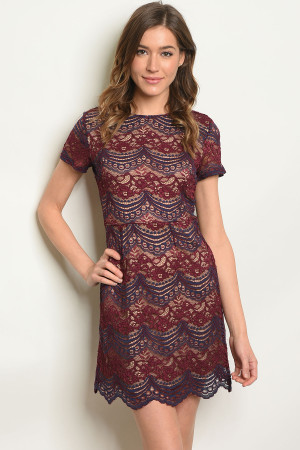 C22-A-4-D15794 BURGUNDY NAVY DRESS 2-2-2