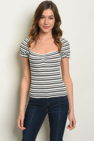C37-B-1-T27910 IVORY CHARCOAL STRIPES TOP 3-2-2