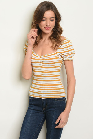 C37-B-1-T27910 IVORY MUSTARD STRIPES TOP 3-2-2