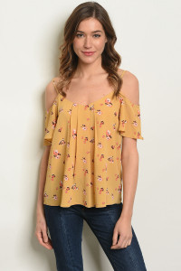 C54-B-2-T29024 MUSTARD FLORAL TOP 1-2-2-1
