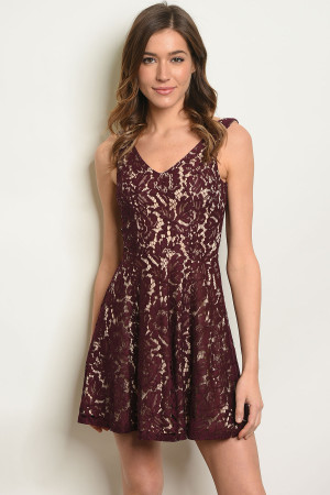 C74-A-4-D16630 WINE NUDE DRESS 1-2-2-1