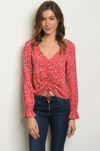 S18-5-2-T29297 RED WITH FLOWER PRINT TOP 2-3-2-1