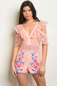 S24-7-6-R13230 PINK WITH ROSES PRINT ROMPER 2-2-2