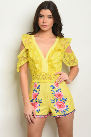 S17-2-2-R13230 YELLOW WITH ROSES PRINT ROMPER 1-1-1
