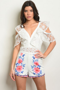 S18-4-2-R13230 WHITE WITH ROSES PRINT ROMPER 2-2-2