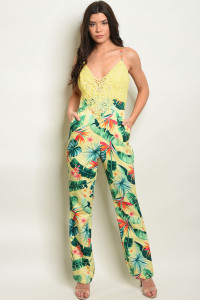 S17-2-2-J13084 YELLOW LEAVES WITH PRINT JUMPSUIT 1-1-1