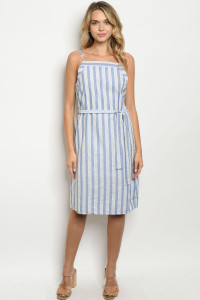 S8-8-3-D1807 BLUE STRIPES DRESS 2-2-2