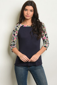 S10-19-5-T9949 NAVY WITH FLOWER PRINT TOP 2-2-2