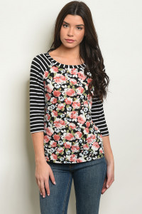 S8-7-3-T9948 BLACK WITH ROSES PRINT TOP 2-2-2