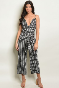S8-7-3-J1347 BLACK STRIPES JUMPSUIT 2-2-2