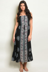 S8-7-3-D1379 BLACK WITH FLOWER PRINT DRESS 2-2-2