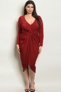 Z-B-D17119X BURGUNDY PLUS SIZE DRESS 2-2-2