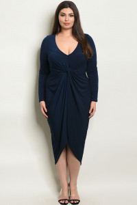 Z-B-D17119X NAVY PLUS SIZE DRESS 2-2-2