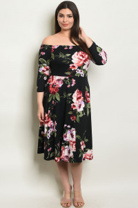 C48-A-1-D15780X BLACK FLORAL PLUS SIZE DRESS 3-1-3