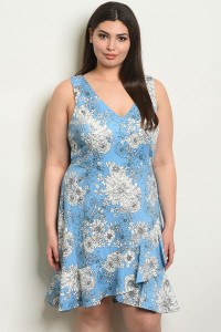 C34-A-5-D17482X BLUE WITH FLOWER PRINT PLUS SIZE DRESS 2-2-2