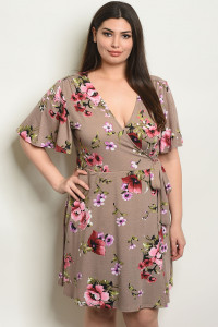 Y-B-D18252X TAUPE FLORAL PLUS SIZE DRESS 2-2-2