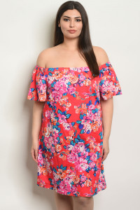 C24-A-5-D15577X RED FLORAL PLUS SIZE DRESS 2-2-2