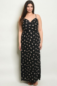 C25-A-4-D17418X BLACK FLORAL PLUS SIZE DRESS 2-2