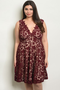 C14-A-4-D17046X WINE NUDE PLUS SIZE DRESS 2-2-2-1