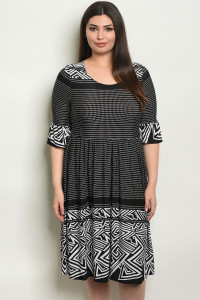 C20-A-3-D5793X BLACK WHITE PLUS SIZE DRESS 2-2-2