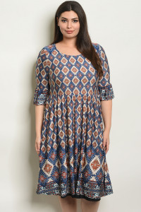 C18-A-1-D5793X TAN NAVY PLUS SIZE DRESS 2-2-2