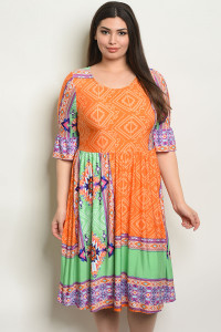 C16-A-1-D5793X ORANGE GREEN PLUS SIZE DRESS 2-2-2