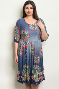 C16-A-7-D5793X NAVY PAISLEY PRINT PLUS SIZE DRESS 2-2-2