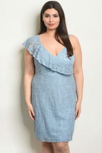 S23-11-6-D8699X BLUE PLUS SIZE DRESS 2-3-1
