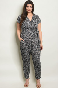 S23-12-6-J17081X NAVY BROWN PLUS SIZE JUMPSUIT 1-2-2-1