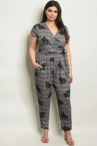 S7-9-3-J17081X BLACK CHECKERED PLUS SIZE JUMPSUIT 1-2-2-1