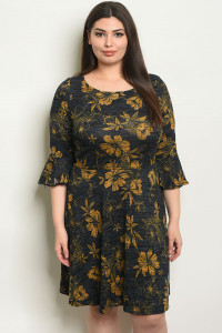 S7-9-3-D14392X NAVY MUSTARD PLUS SIZE DRESS 1-2-2-1