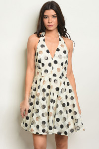 S18-12-1-D05022 IVORY WITH DOTS DRESS 2-4