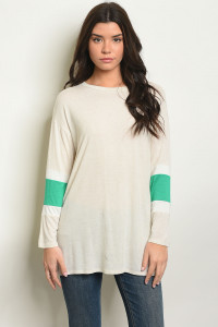 C48-A-1-T50559 OATMEAL GREEN TOP 2-2-2