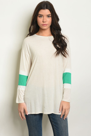 S17-2-1-T50559 OATMEAL GREEN TOP 1-1-1