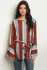 C56-A-2-T50984 BRICK STRIPES TOP 2-2-2