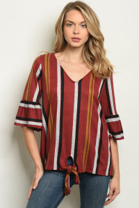 C64-A-3-T50968A WINE STRIPES TOP 2-2-2