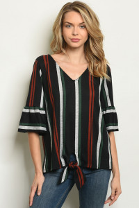 C66-A-2-T50968A BLACK STRIPES TOP 2-2-2