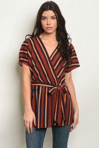 C72-A-6-T50906 BRICK STRIPES TOP 2-2-2