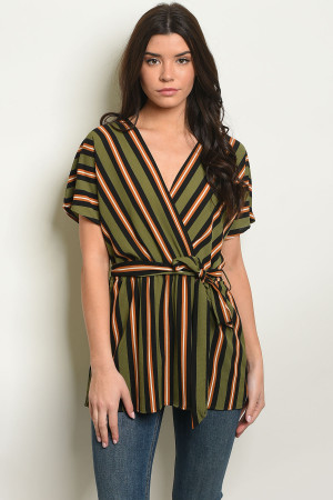 C70-A-7-T50906 OLIVE STRIPES TOP 2-2-2