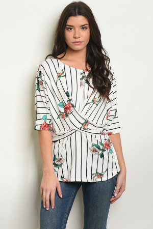 C70-A-3-T50876 WHITE FLORAL TOP 2-2-2