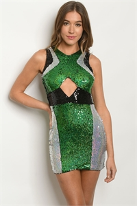 S15-8-3-D60184 BLACK GREEN WITH SEQUINS DRESS 3-2-2  ***WARNING: California Proposition 65***