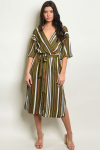 S15-11-3-D50837B OLIVE STRIPES DRESS 2-2