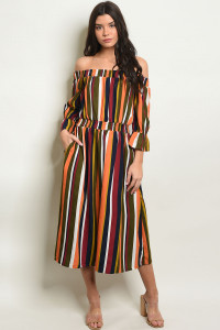 S19-11-6-D30239 MULTI STRIPES DRESS 2-2-2